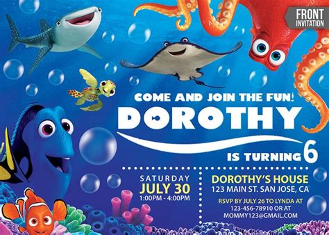 20 Best Finding Dory Party Ideas Images On Pinterest Finding Dory 3 Years And 3rd Birthday Finding Dory Birthday Invitations Template
