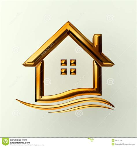 home design gold houses gold house logo with wave stock illustration image 54147724