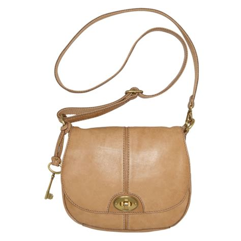 Fussil Flap fossil carson flap crossbody bag in beige camel lyst