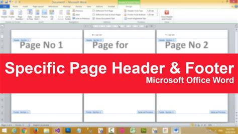 creating header and footer in pages how to put specific page header or footer in microsoft
