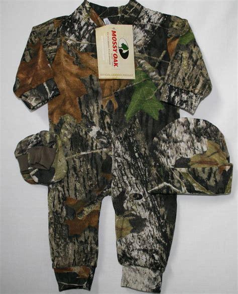 Camo Baby Sleeper mossy oak camouflage baby sleeper hat booties infant camo clothes creeper ebay