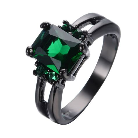 princess cut green emerald wedding rings black gold filled