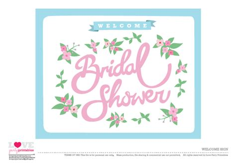 Free Printable Bridal Shower Welcome Sign | free bridal shower party printables from love party