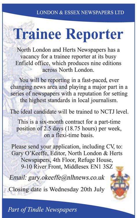 Job advert: Part time trainee reporter position   Gazette