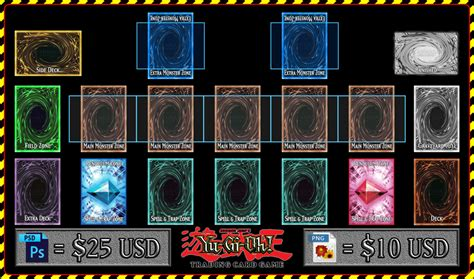 yugioh card zones template yu gi oh playmat template 2017 link version by