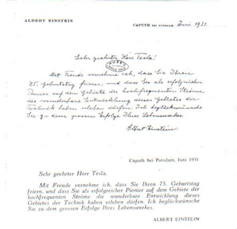 Tesla Letter Einstein Wrote Tesla A Letter For His 75th Birthday Here