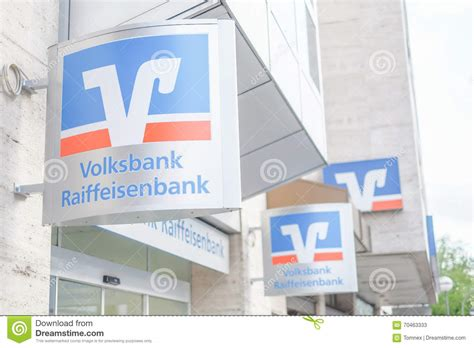 vr bank forst volksbank raiffeisenbank signs editorial stock photo
