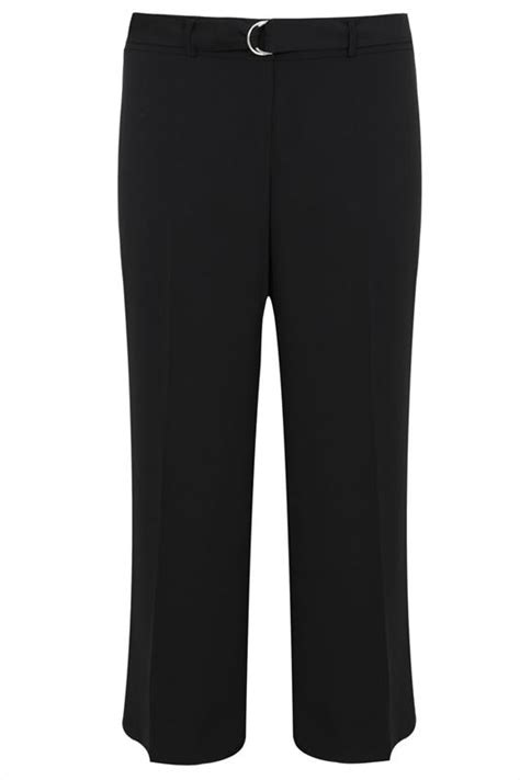Flatshoes Ribbon Sm 21 Salem Limited black crepe wide leg trousers with silver ring belt plus size 16 to 32