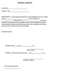 General Affidavit Template by General Affidavit Template Sle
