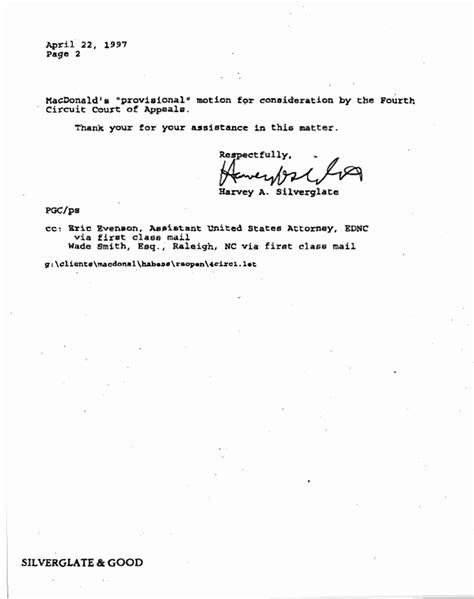 Letter Withdrawing Motion Macdonald S Motion Withdrawal Re 28 U S C 167 167 2254 Or 2255 April 1997 Jeffrey Macdonald