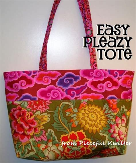 easy tote bag sewing pattern free easy pleazy tote free pattern tutorial pinterest