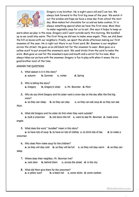 reading comprehension test beginner reading comprehension for beginner and elementary students