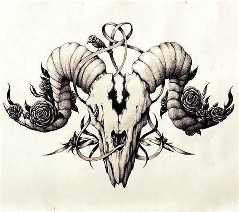 ram skull tattoo beautifull ram skull design