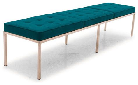 blue upholstered bedroom bench franklin bench lucky turquoise blue midcentury