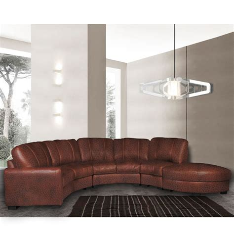curved leather sectional jonathan sectional curved sectional sofa in chestnut