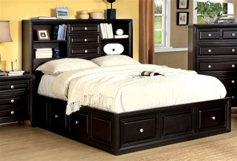 queen bed with bookcase headboard 804 free shipping espresso wood queen platform bed