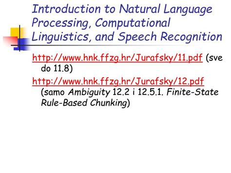 pattern recognition natural language processing jurafsky speech and language processing pdf