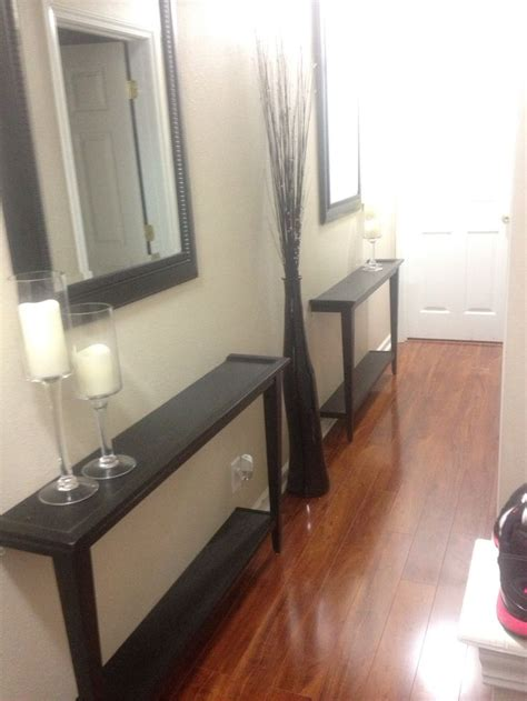 Thin Entryway Table Narrow Hallway Decor Solution Cut A Table In Half And Bolt To The Wall Use Mirrors To Give It