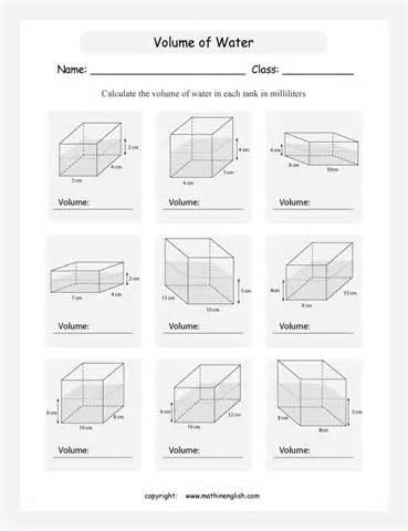 volume maths worksheets surface area and volume of right