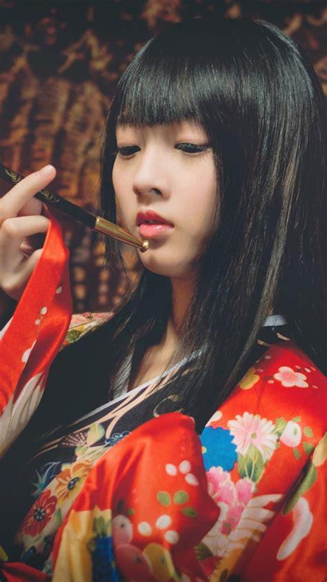 wallpaper japanese girl kimono dress smoking
