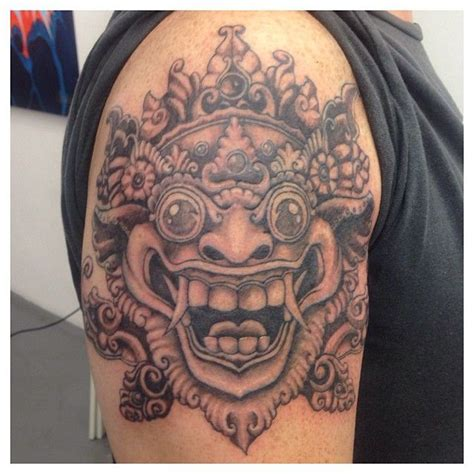 tattoo jakarta indonesian barong mask blackandgrey tattoo ink
