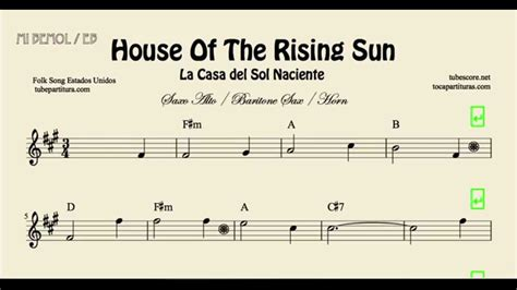 House Of The Sun 1 2 house of the rising sun easy sheet for alto saxophone baritone saxophone and horn with