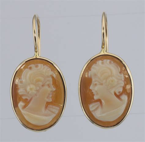 Cameo Oval Classic classic carved italian oval dangle cameo earrings