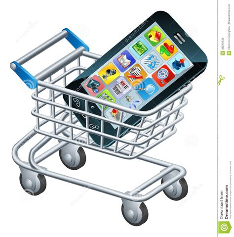 shopping new mobile phones mobile phone shopping cart stock vector illustration of