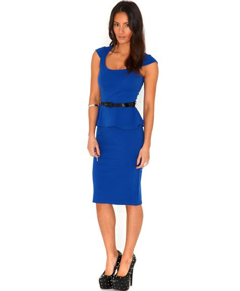 Blue Peplum Dress missguided francheska tailored peplum dress in royal blue