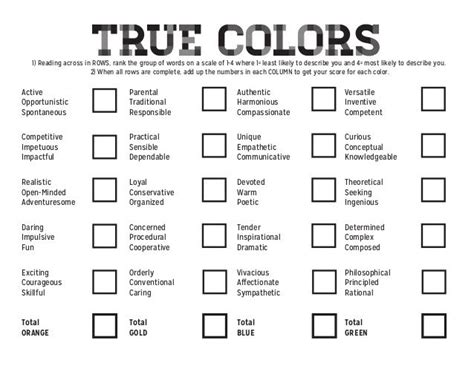 tattoo describes my personality quiz true colors 1 reading across in rows rank the group of