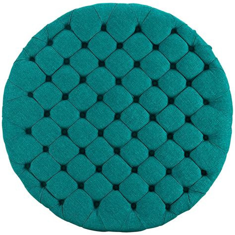 tufted turquoise ottoman round tufted fabric ottoman modern furniture brickell