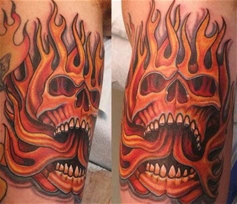 fire skull tattoo designs flaming skull for guys design