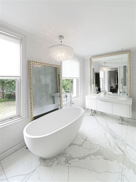 calacatta bathroom bath freestanding on bookmatched calacatta oro marble