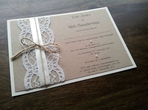 Wedding Invitations Handmade Paper by Sle Personalised Handmade Vintage Chic Lace Wedding