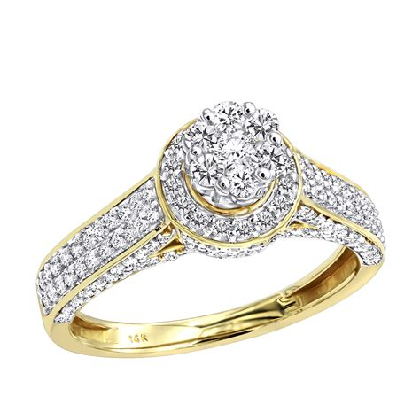 affordable cluster diamond engagement ring  women  halo ct  gold