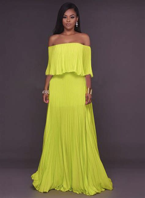s shoulder ruffle maxi evening pleated dress