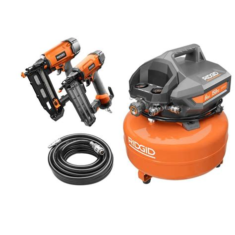 ridgid 6 gal electric pancake air compressor kit 1 18 2 1 8 in brad nailer 1 16