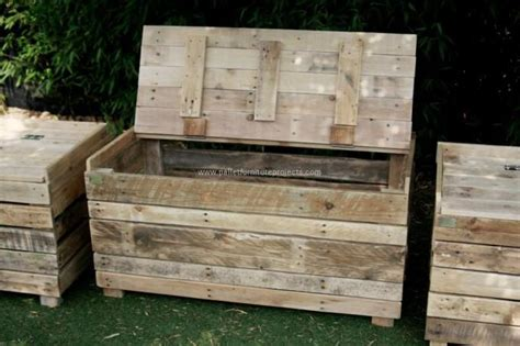 pallet bench with storage reclaimed pallet wood storage benches pallet furniture