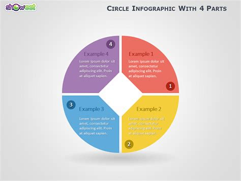 Circle Infographic With 4 Parts For Powerpoint Innovative Creative Circle Presentation