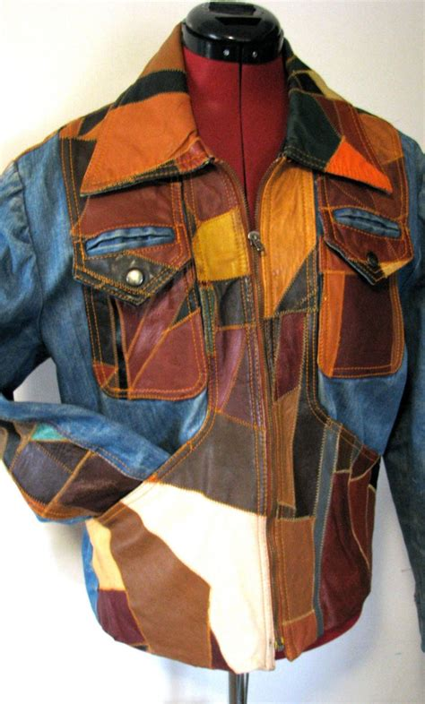 Mens Patchwork Jacket - 70s vintage leather patchwork denim jean jacket womens m l