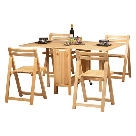 Drop Leaf Dining Table With Folding Chairs Unvarnished Oak Wood Drop Leaf Dining Table Added By Four Folding Chairs With Square Seat To