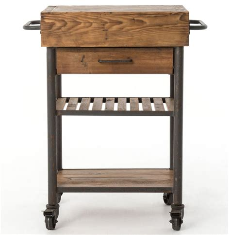 iron kitchen island kershaw rustic chunky reclaimed wood iron single drawer