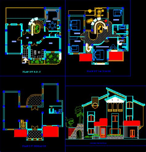 villa layout dwg belle villa dwgautocad drawing projects to try