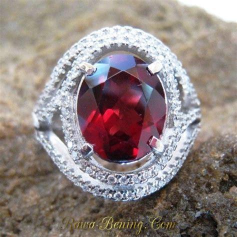 Cincin Putih Wanita Batu Garnet cincin wanita permata pyrope garnet asli silver 925