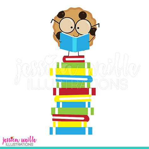 smart cookie books smart cookie on book stack digital clipart reading clip