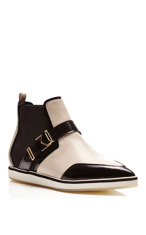 nicholas kirkwood white and black calf leather pointy flat