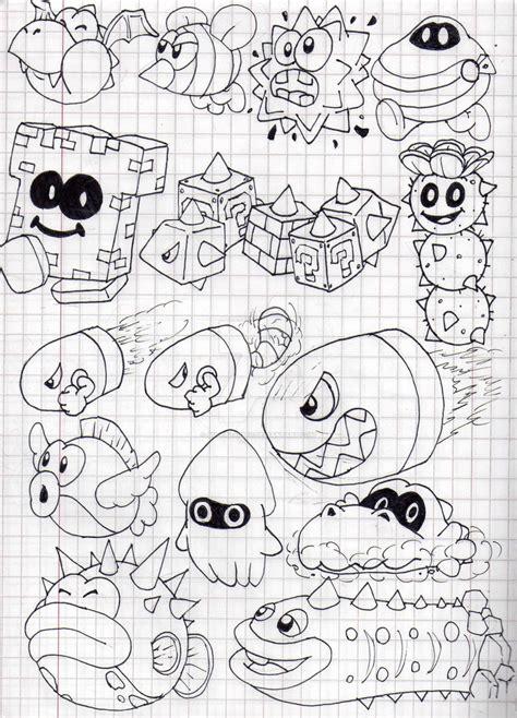 mario enemies coloring pages super mario 3d land enemies doodles part 2 by