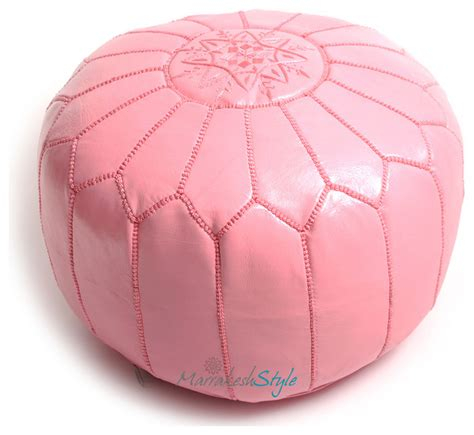 round pink ottoman moroccan pouf pink leather pouf round ottoman foot stool