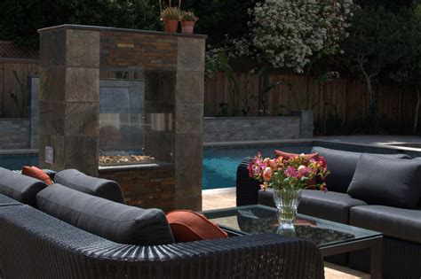 outdoor see through fireplace