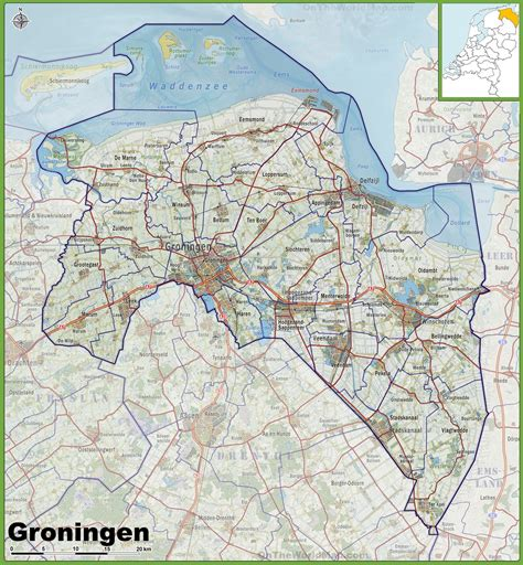 netherlands map groningen map of groningen province with cities and towns